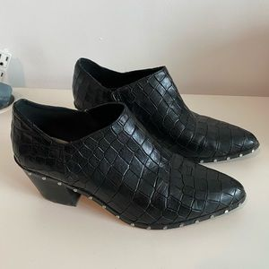 Crocodile embossed black ankle boots